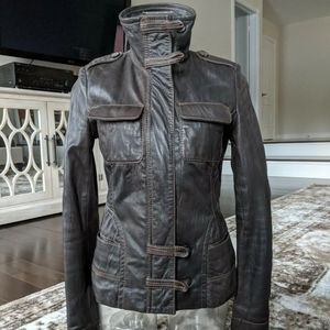 Danier leather moto jacket brown